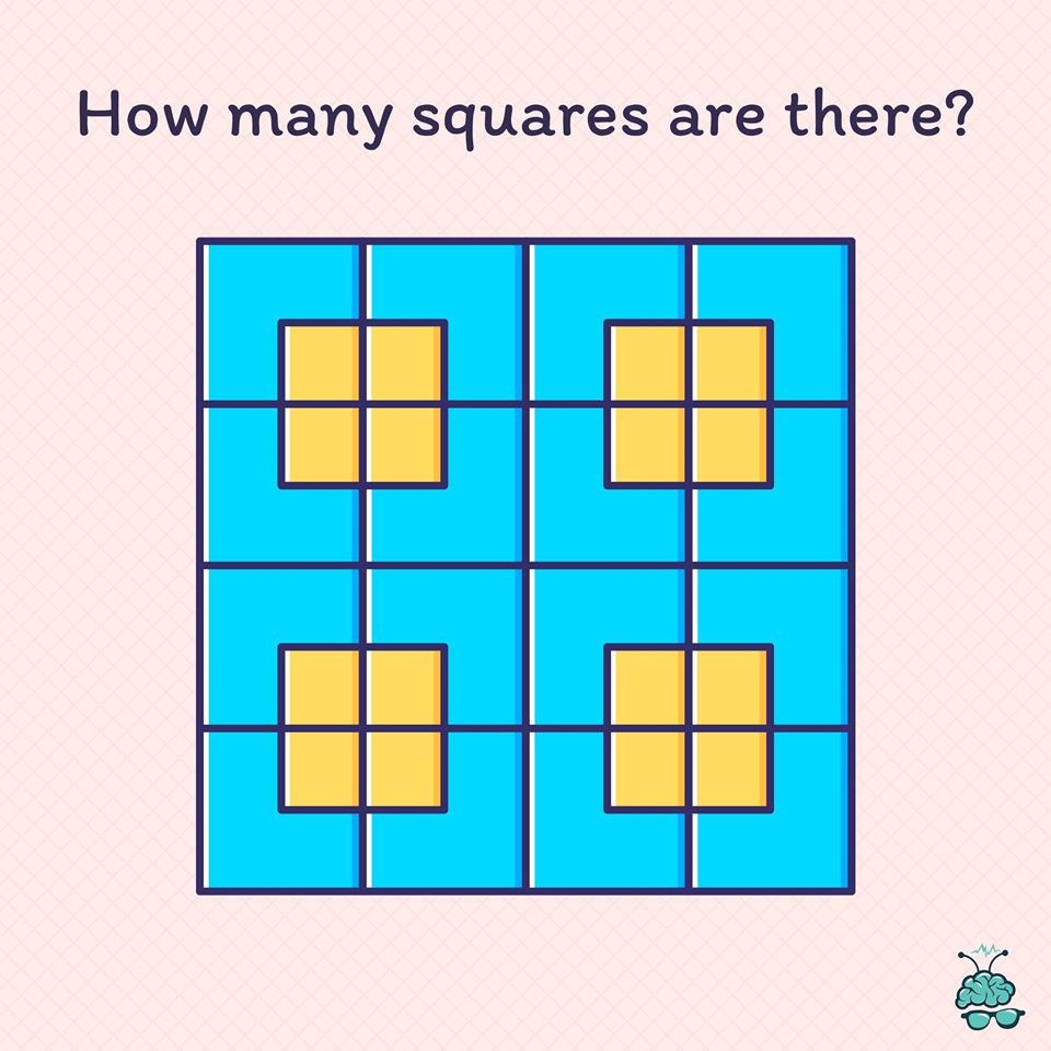 Think you can solve this? Count the total number of squares in the picture.  Hint: Make sure you count squares within the squares.