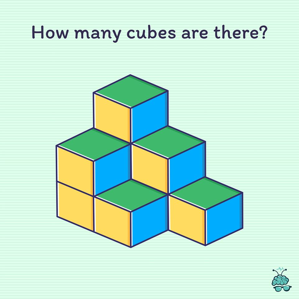 This one seems to stump everyone. How many cubes are there in the picture?