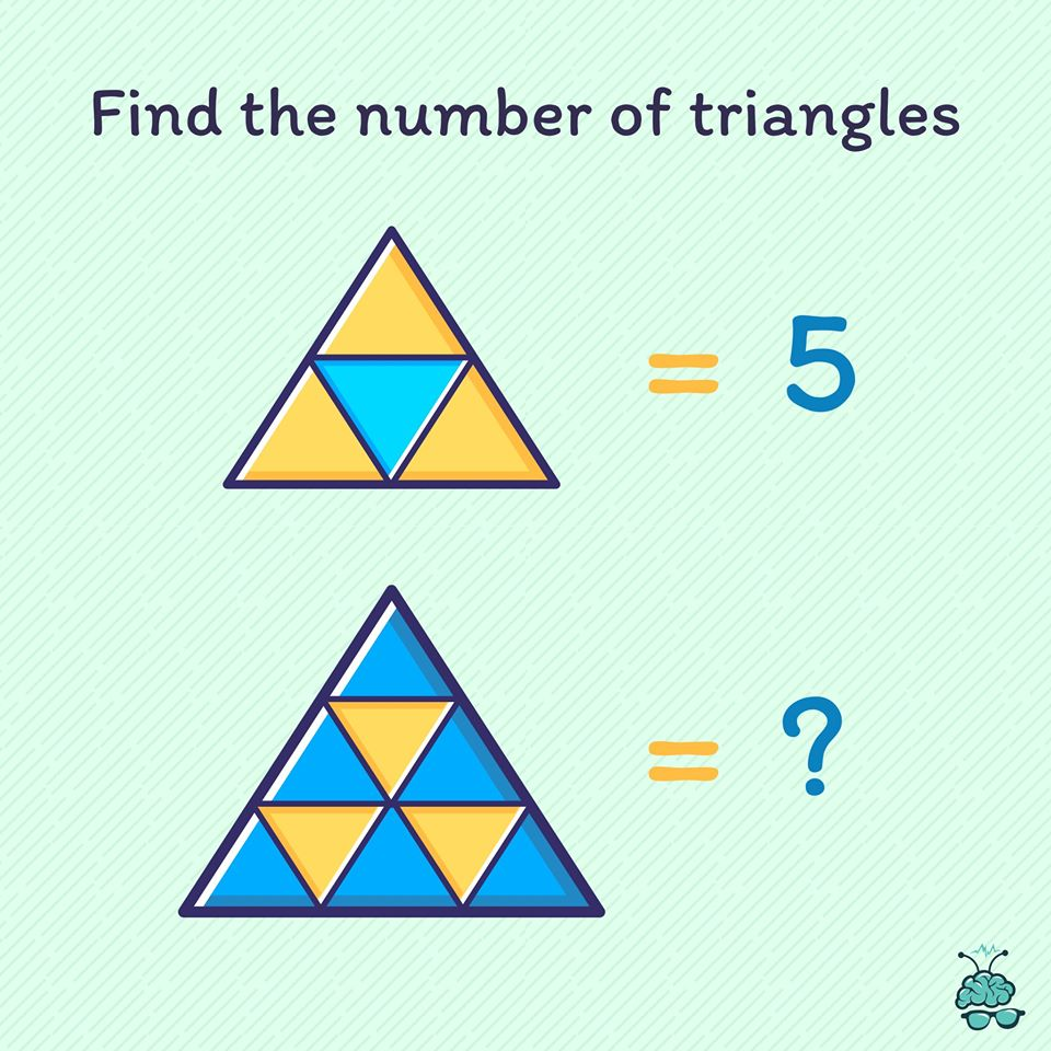 Can you find out the correct number of triangles in the image below? Count it carefully!