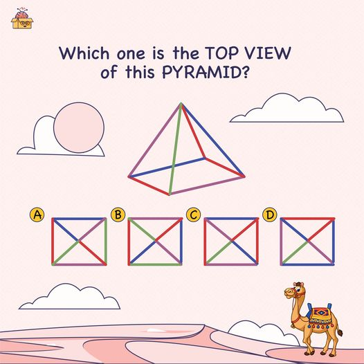 Here's a Visual-Spatial Puzzle for you. Solving this kind of puzzle requires the ability to visualize things, visually understand the objects, and find the relation between them.