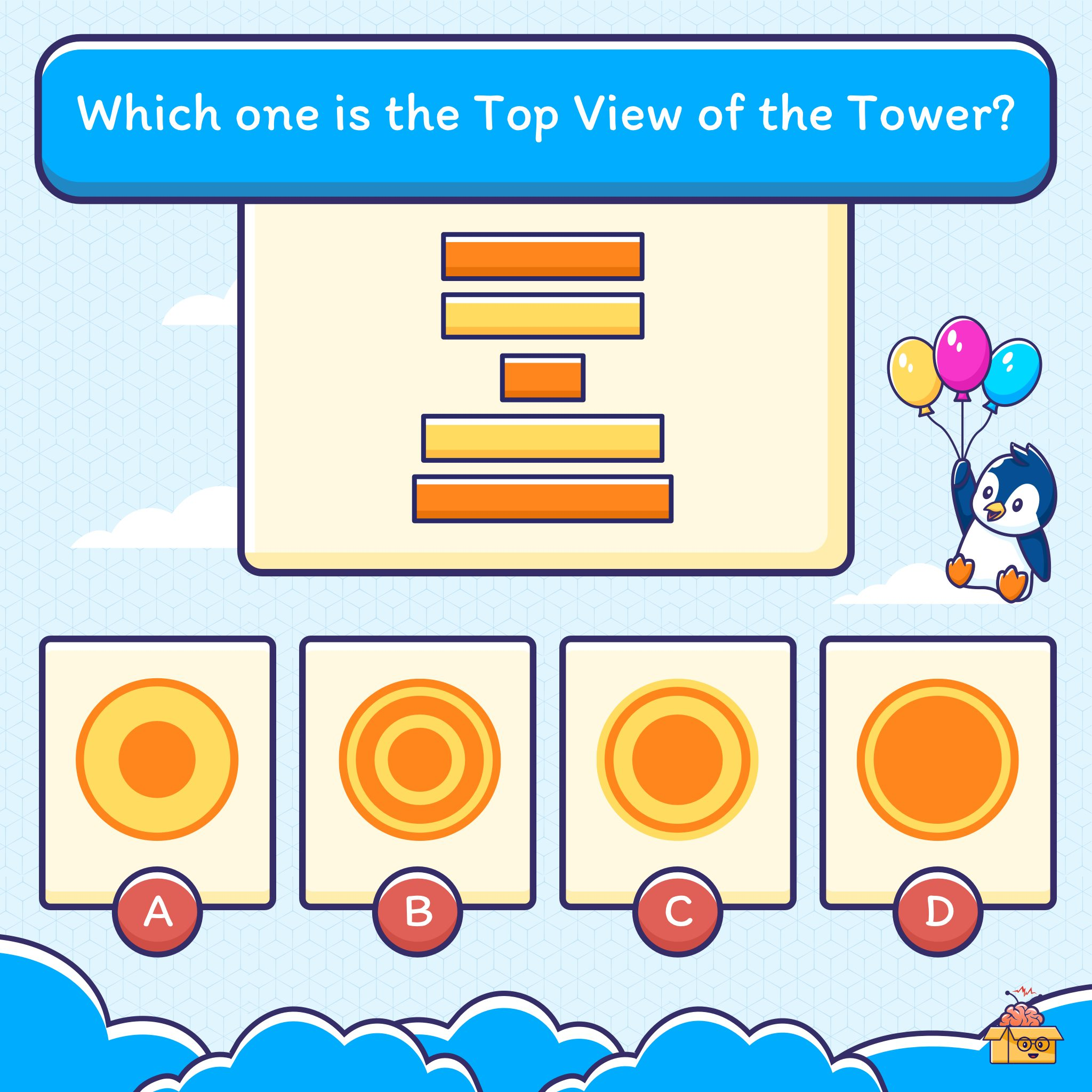 This puzzle will test your pattern-recognising skills. Let's see if you can guess the correct top view of the tower.